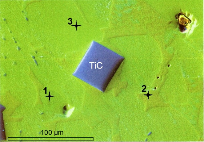 titanium carbide crystal in iron silicide (gupeiite, xifengite, FeSi) matrix Chiemgau impact