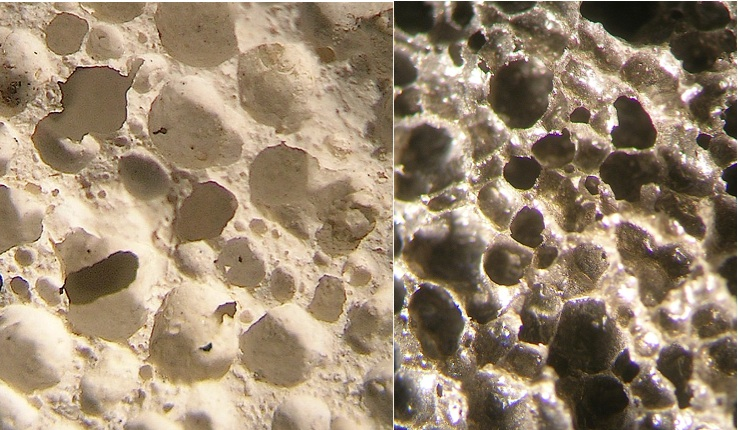close-up of pumice varieties from the Chiemgau impact area