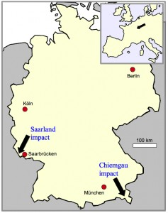 map of Germany showing the Saarland impact and Chiemgau impact locations