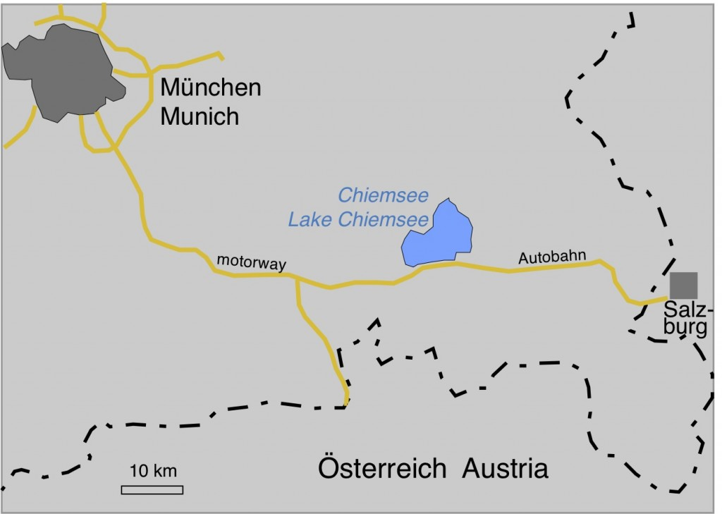 map of southeastern Bavaria and the location of Lake Chiemsee