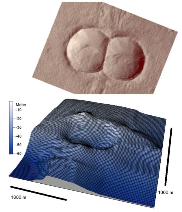 comparison of dual crater formation on mars and in the Chiemgau impact event
