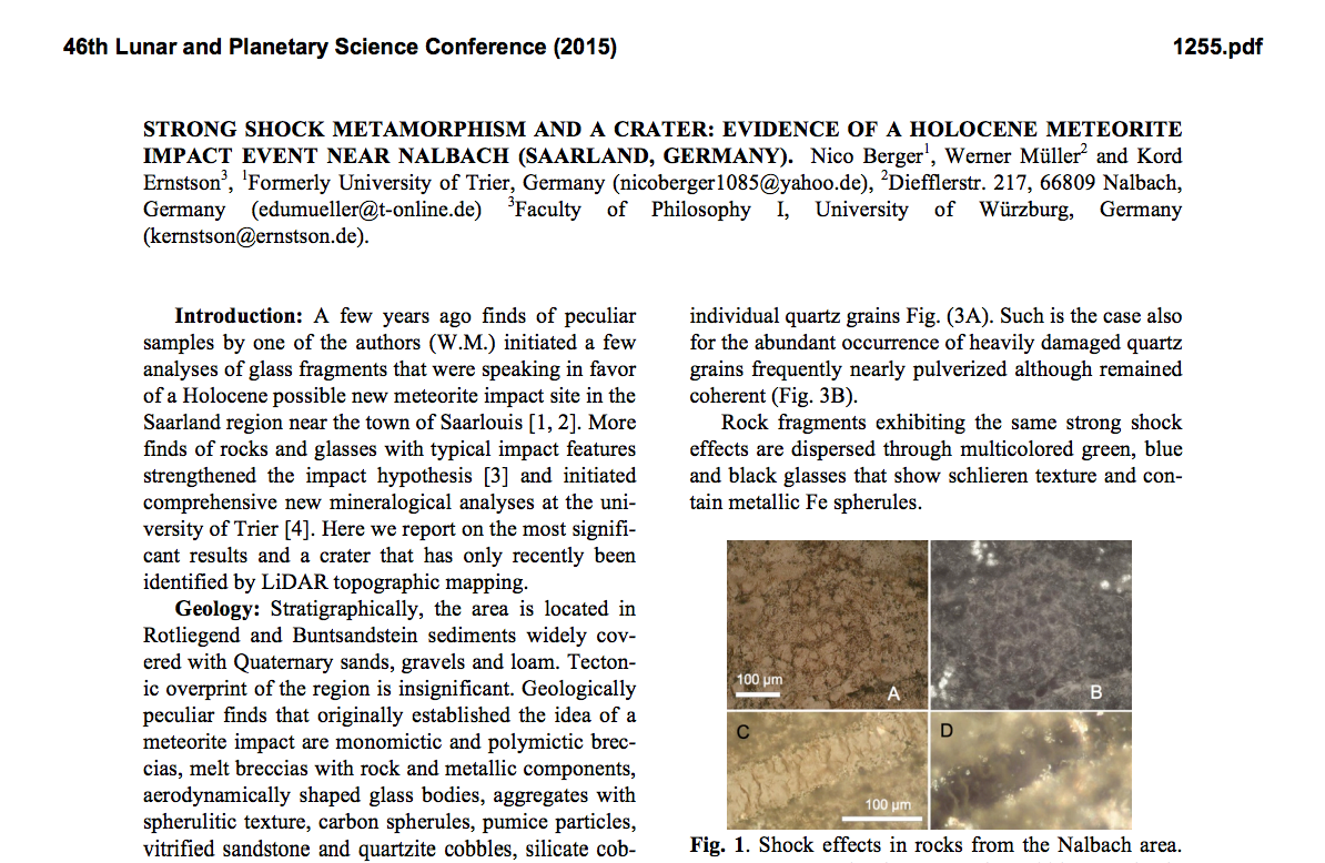 LPSC 2015 abstract Nalbach impact