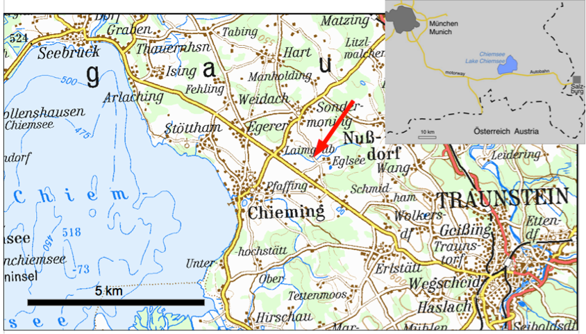 Location map Lake Chiemsee tsunamite exposure