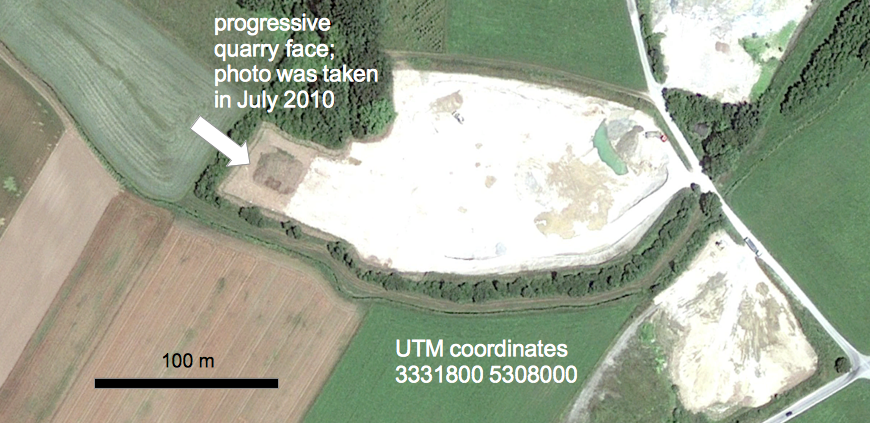Eglsee gravel pit tsunamite exposure Google Earth
